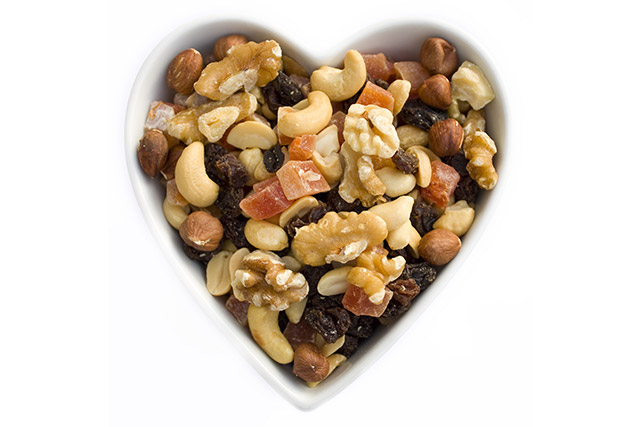 Mixed Nuts in Heart Shaped Bowl