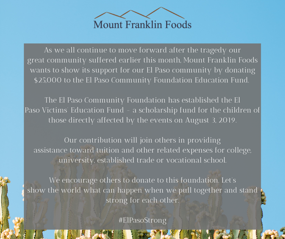 mount franklin foods donates to el paso strong